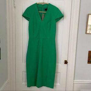 J. Crew V-Neck Sheath Dress Bi-Stretch Cotton 4T